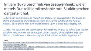 van Leeuwenhoek rote Blutkörperchen im Dunkelfeldmikroskopie